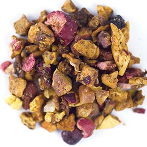 Pink Dragon - Dragon fruit, apple and berries invade your cup in this delicious summer tea. Ingredients: Apple bits, dragon fruit bits, sea buckthorn berries, chokeberries, goji berries,  pineapple bits (pineapple, sugar, citric acid [acidifier]), kiwi bits, papaya bits (papaya, sugar), blueberries, cranberry bits, tartaric acid (acidifier), natural flavors.