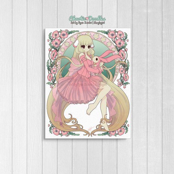 Chi Chobits Art Nouveau Mash-up Anime kunst Anime Print Anime