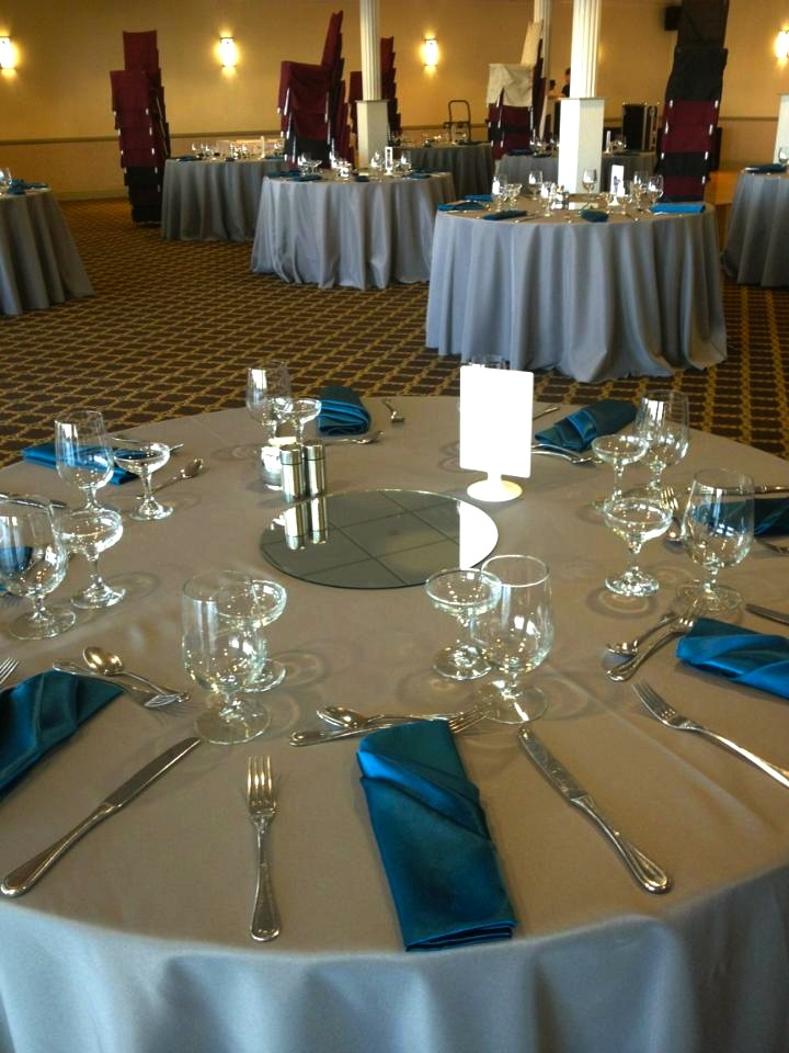 Charcoal Grey Tablecloths, Satin Peacock Napkins. | Charcoal Grey |  Pinterest | Grey Tablecloths, Centerpieces And Weddings