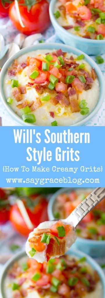 Will's Southern Style Grits are topped with smoked Gouda, bacon, tomatoes, scallions and dare we say the creamiest grits you'll ever have in life!!!