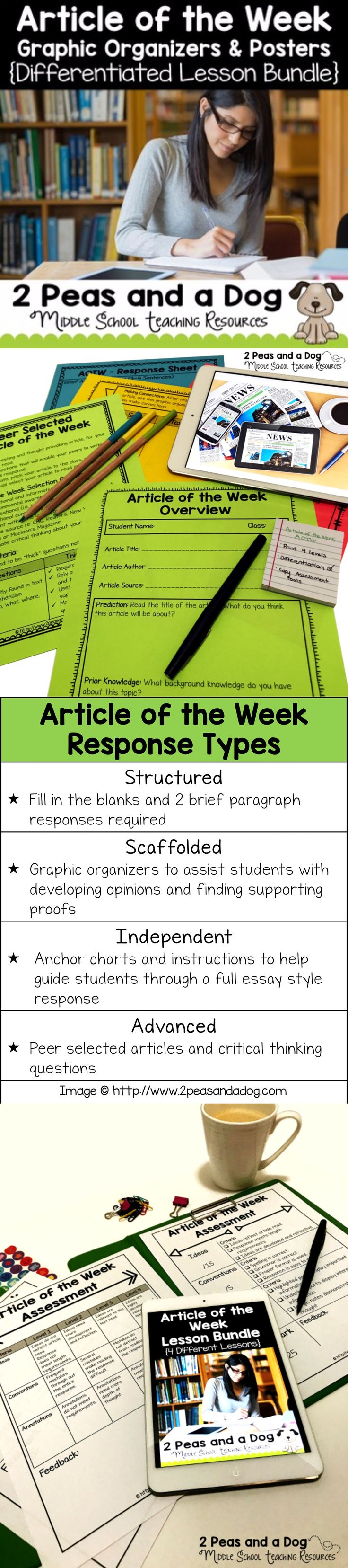 Help your students purposely engage with non-fiction texts using this differentiated article of the week four lesson bundle. This no-prep, print and go resource can be used in any content area or English Language Arts classroom to help students gain background knowledge, practice their reading, writing and analysis skills as well as keep classroom engagement high. ($)