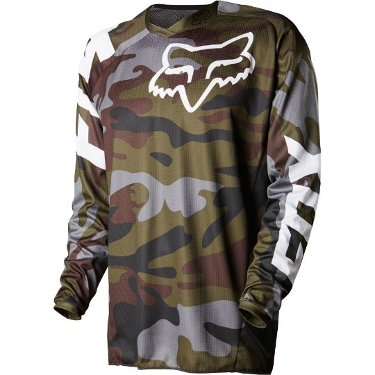 <p>The Fox 180 Camo LE Jersey has received great function and design updates. Asymmetrical off center graphics and vented side panels on the jersey compelete the Fox 180 Jersey updates for 2015.</p>