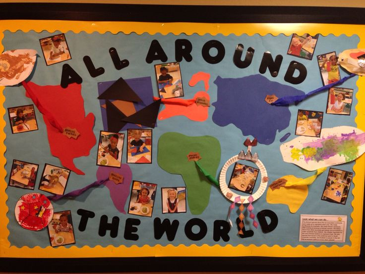 """""""All around the world"""" bulletin board! We studied at least one country from each continent and made crafts to represent each country :)"""
