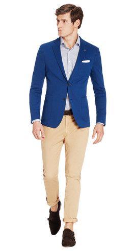 L3: jasje in kobaltblauw, Van Gils €299,95 vergeet de lichte broek, draag het jasje op donkerblauw