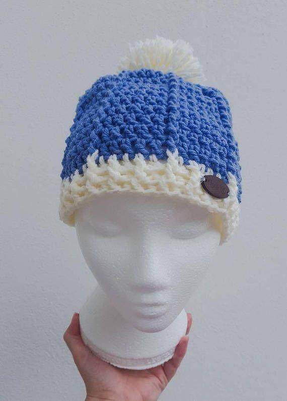 Pom pom Denim Blue and Cream crochet hat gifts for her gift