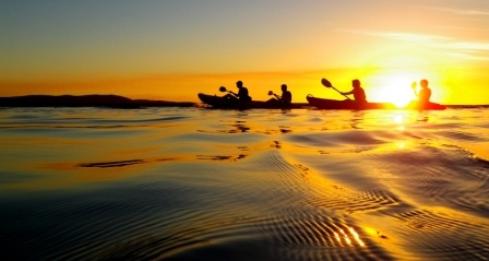 Sunset kayaking in the Town of 1770, Queensland, Australia