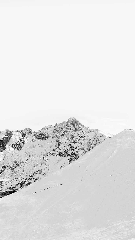 WINTER MOUNTAIN SNOW BW NATURE WHITE WALLPAPER HD IPHONE