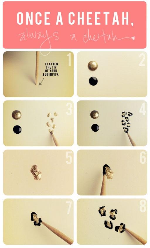 how to make a cheetah print for nails