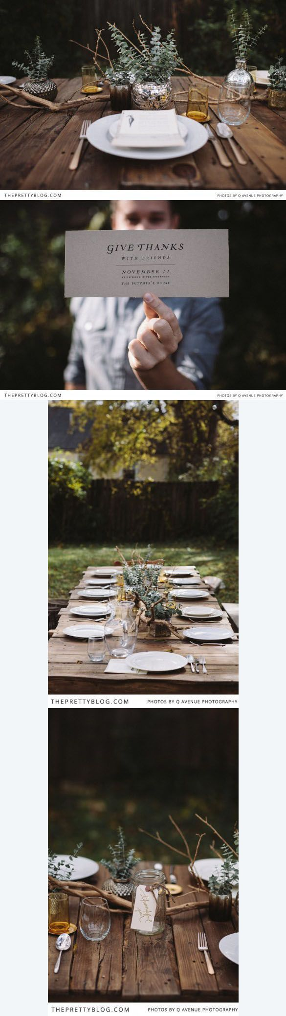 Thanksgiving table ~ This is simple and beautiful! See more on http://theprettyblog.com Styling: Lauren Ledbetter, Cocktails: Chris Cole, Photography: Brad + Jen of Q Avenue Photo,