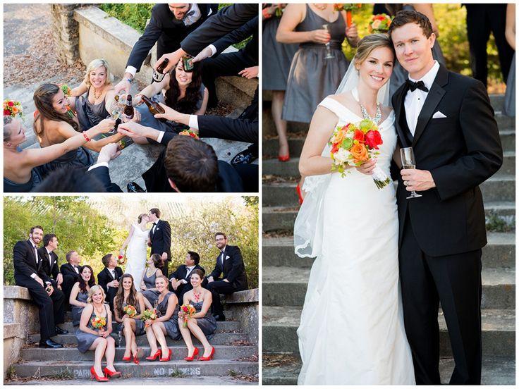 Beautifully Classic Orange and Grey Wedding Party