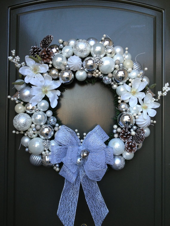 White and Silver Christmas Wreath by Stacyswreaths on Etsy, $200.00