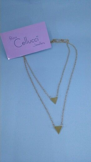 Cellucci Jewellery simple fashion necklace 2 rows : 2 triangles #fashion #necklace #montreal