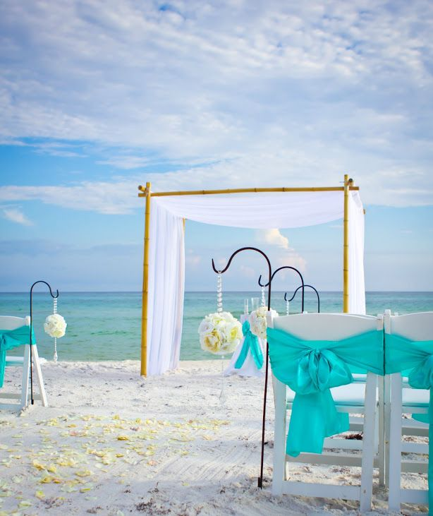 bamboo arbor turquoise beach wedding by princess wedding co - Bamboo Canopy 2015