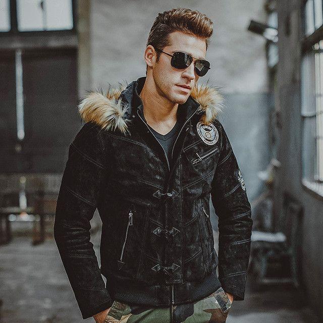Men's pigskin real leather jacket Genuine Leather jacket Hooded fur hat winter warm coat men motorcycle jackets