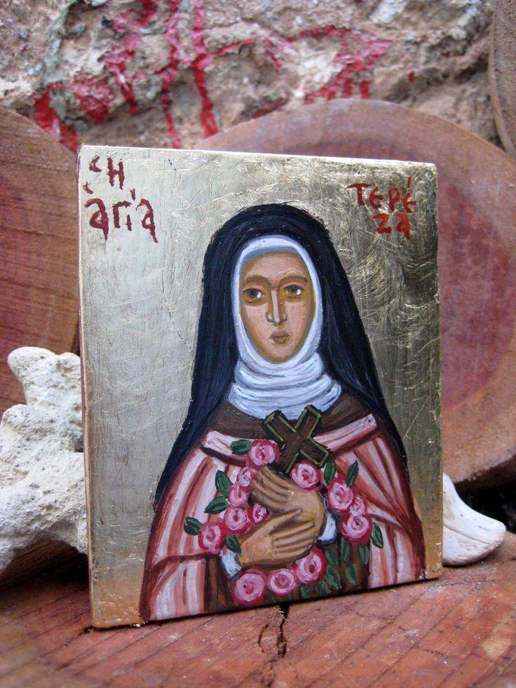 Byzantine catholic icon Saint Thérèse of Lisieux, hand painted St Teresa little flower icons- mini religious catholic art and iconography http://etsy.me/2A8Qam8 #art #painting #black #confirmation #pink #miniatures