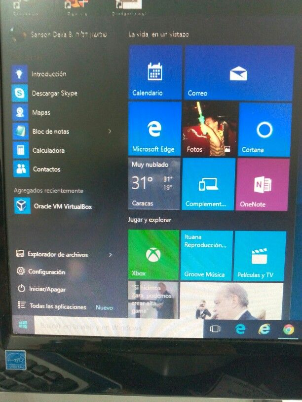 Menu de inicio en Windows 10