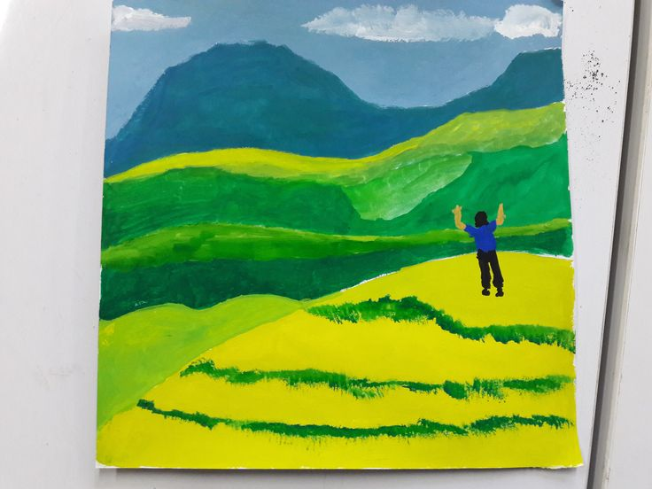 Development #1: Adjust the shape of the lines to the hills, fill basic lines 1 with poster colors, then draw a man on the nearest hill.