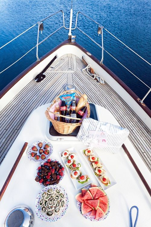 Enjoying a delicious array of snacks on the deck of a boat is one is the finer things in life.