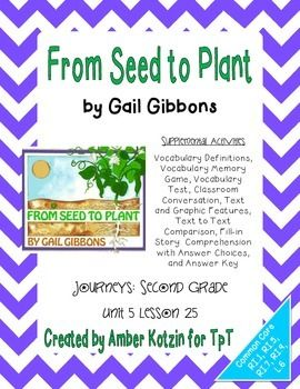 from seed to plant activities 2nd grade journeys unit 5 lesson 25 vocabulary practice test. Black Bedroom Furniture Sets. Home Design Ideas