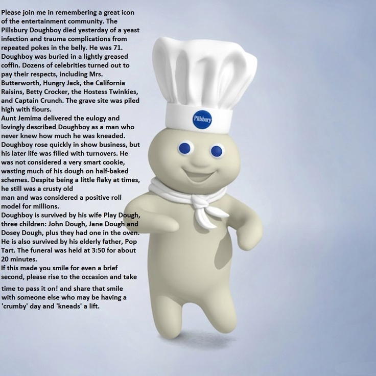 pillsbury dough boy doughboy funny dies doe died boys eulogy puns things miscellaneous icon happy comfort joy pumpkin poke cartoons