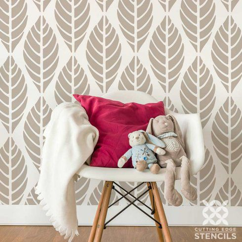 find this pin and more on nature stencils decor this modern leaf wall pattern - Bedroom Stencil Ideas