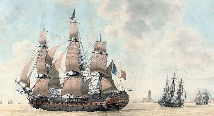 French 74-gun 3rd rate with frigate