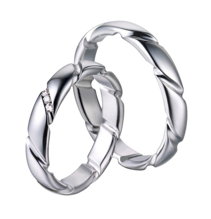 Snubní prsteny P2548 z bílého zlata.Dámský prsten zdoben brilianty.
