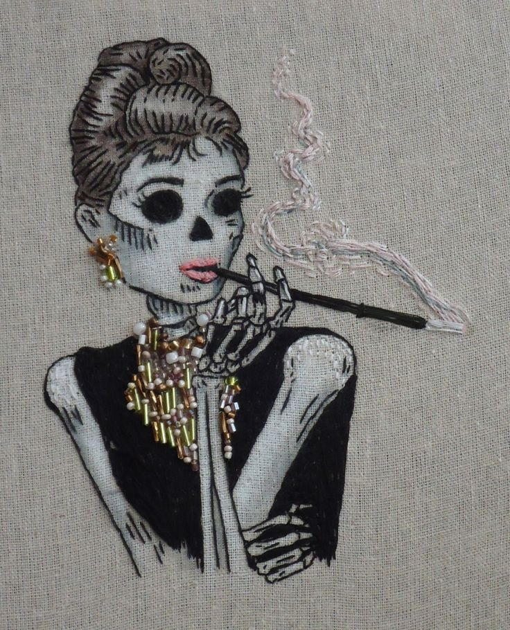 Sew Lovely Embroidery - Audrey Hepburn, Breakfast at Tiffany's , Day of the Dead.