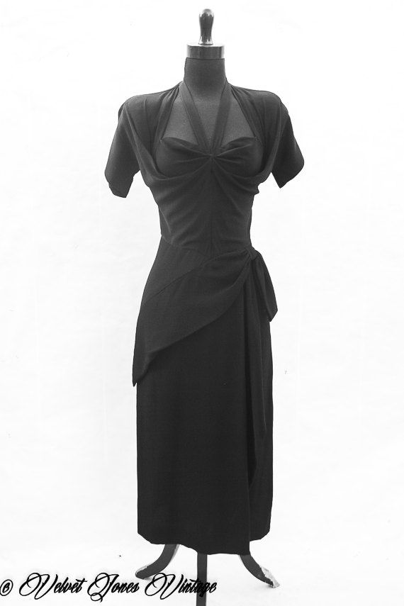 Vintage / 1940s / Iconic / Dorothy O'Hara / Draped / Ruched / Glam Noir / Bombshell / Elegant / Sophisticated / Cocktail / Evening / Dress