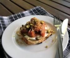 Breakfast - Sweet steamed rhubarb with goat's cheese and fruit toast by Thermomix in Australia - Recipe of category Main dishes - vegetarian
