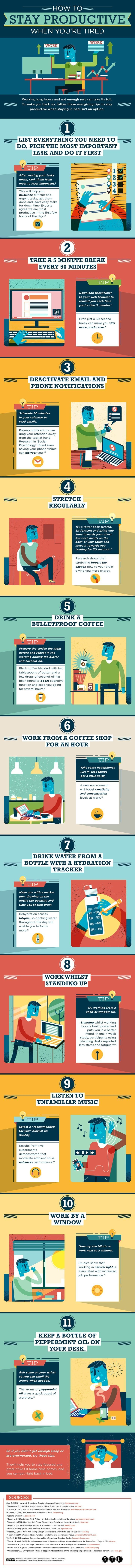Productivity tips for small business owners, entrepreneurs, and bloggers! Wondering how to be productive all day? If you're on a deadline, the 11 tips on this infographic will help you stay productive when you're dragging!