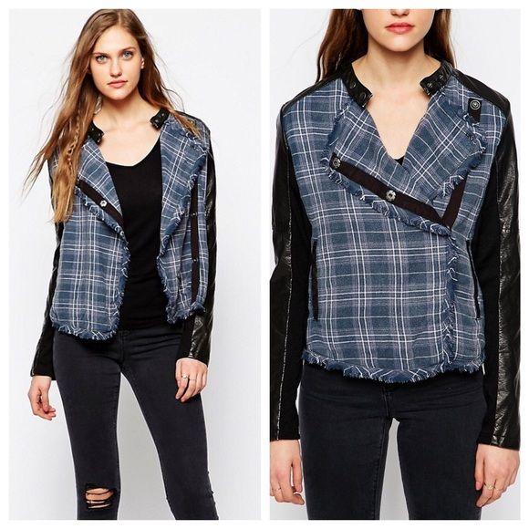 """•Free People plaid jacket• ••Buy 1 Get 1 50% off Sale ENTIRE Closet• Blue & black free people flannel jacket with faux leather trim• Surplice neckline• front off center button closure• long sleeves• 2 front pockets• faux leather panels on shoulders & arms• frayed trim• Aproxx 23"""" length• Free People Jackets & Coats"""