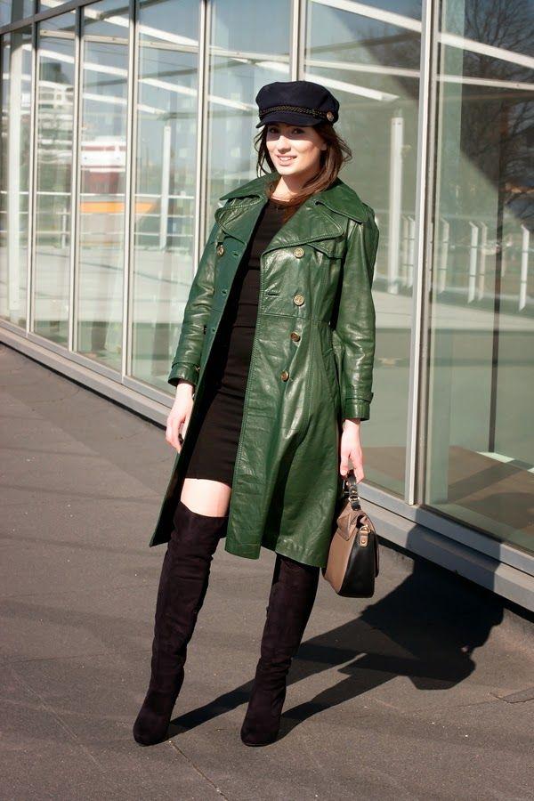 Canada Goose womens online discounts - Women's Dark Green Leather Trenchcoat, Black Bodycon Dress, Black ...