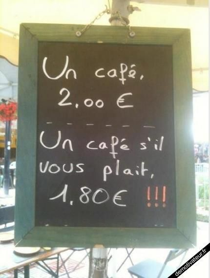 ask for a cafe with 'please' and save some euros!