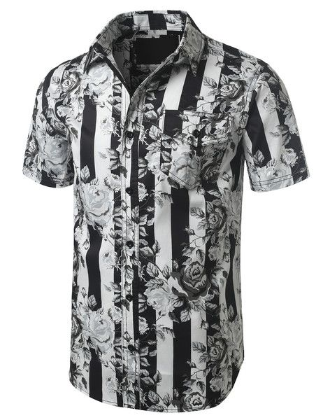 Stripes And Roses Short Sleeve Button Down Shirt - Doublju #doublju #mensfashion #menswear