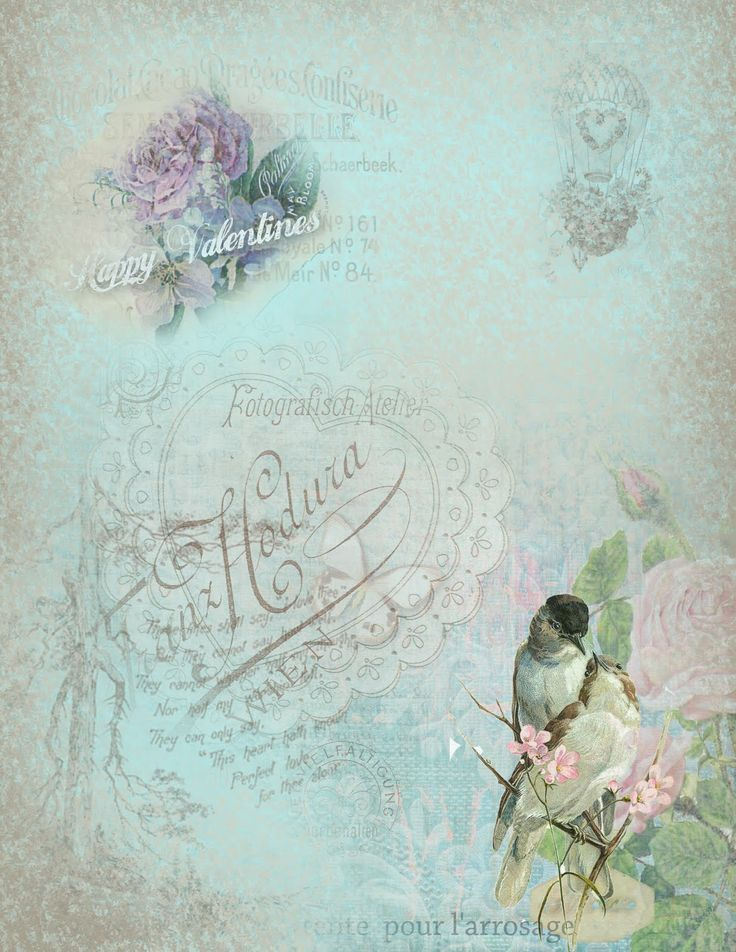 Blue paper with roses, writing and birds in bottom corner, happy valentines written on page