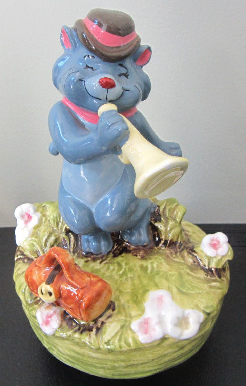 Rare Disney Schmid Aristocats Scat Cat Music Box Ceramic