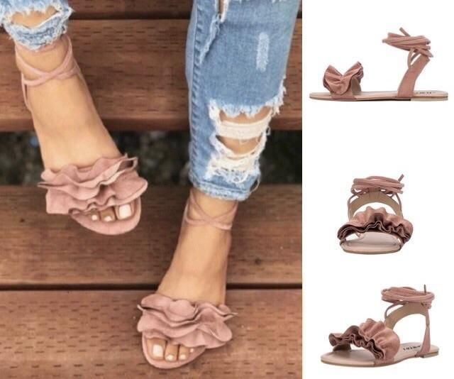 13577e1893919d Ruffle Lace Up Casual Flat Sandals. Cute flat sandals. Cute flat sandals  summer.