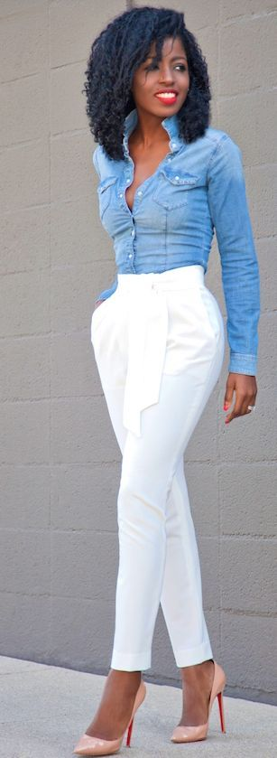 Tie Front Tapered Pants Fitted Denim Shirt Fall Street Style Inspo by Style Pantry