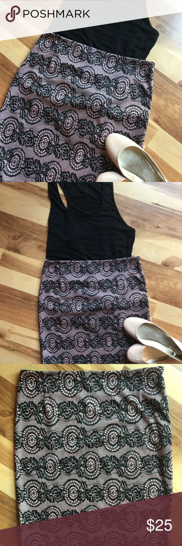 """Lace pink and black printed mini skirt! YEST brand Lace pink and black printed mini skirt! YEST brand. Side zipper. Very comfortable and stretchy! Pair with flats or heels and a dressy blouse. Size small. Length 21"""". No flaws. Never worn. Skirts Mini"""