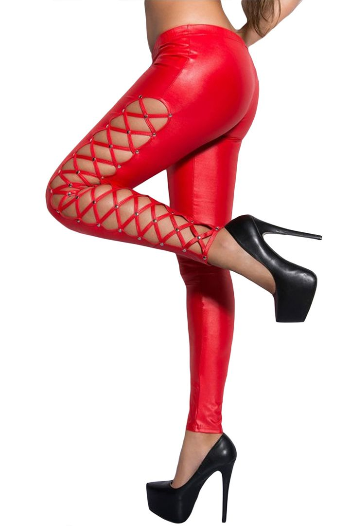 Red leggings with  metallic studs on the outsides. Very stylish punk look and great with a pair high heels or knee boots. Available in a Medium size (UK 8-10).