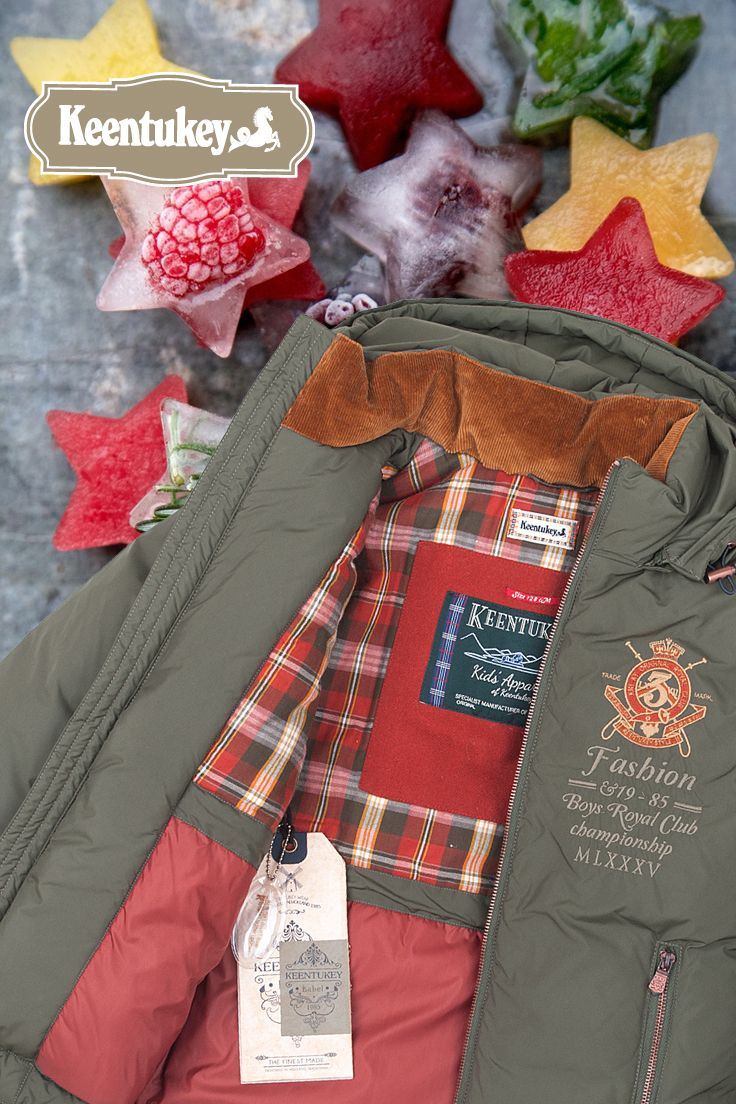 Tasty icy colours. Winter style down jacket. #keentukey #green #tartan #plaid #ice #fruits #red #brick