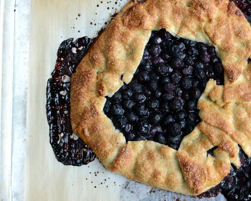 Blueberry Galette ♥ KitchenParade.com, relaxed and rustic, just a store-bought pie crust, frozen blueberries and a few pantry ingredients.