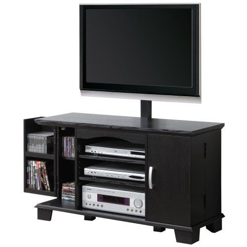 Walker Edison 42-Inch Wood TV Stand Console with Mount, Black by Walker Edison. $208.99. TV stand holds 250-Pound. Upright TV mount holds 150-Pound. Ships Ready-To-Assemble. Rich, black textured finish. Assembly instructions included with available on-line/toll-free support. Elegance and function combine to give this contemporary, wood TV console a striking appearance. The design gives a stylish, modern look crafted with durable laminate and MDF board. Console includes an upright...