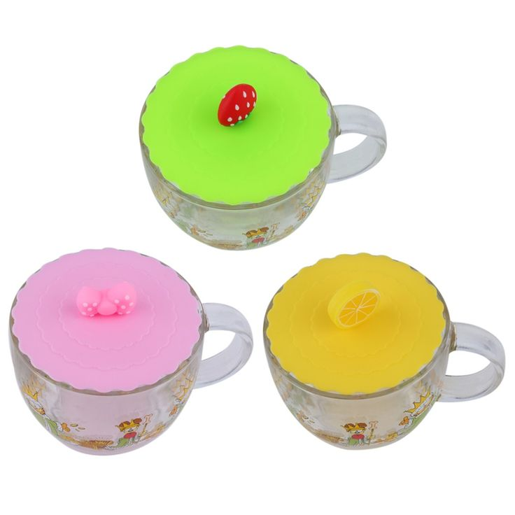 2Pcs Cute Anti-dust Silicone Glass Cup Cover Coffee Mug Suction Seal Lid Cap Silicone Airtight Love Spoon Novelty