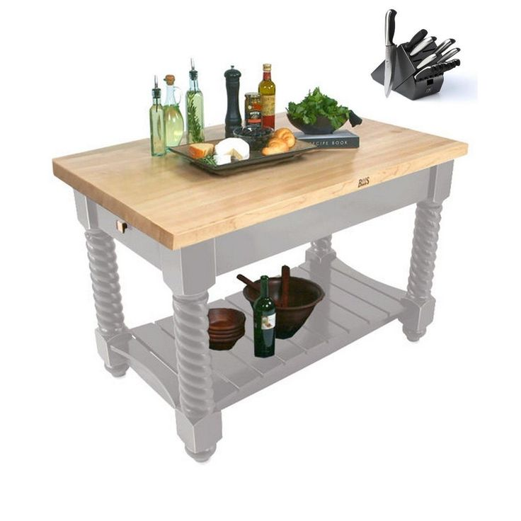 John Boos 54x32 Tuscan Isle Butcher Block Table Maple Top TUSI5432 and 13-piece Henckels Knife Set