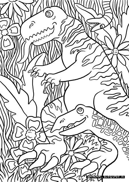 OPTIMIMMI   A free coloring page of dinosaurs in a jungle / Ilmainen värityskuva dinosauruksista viidakossa