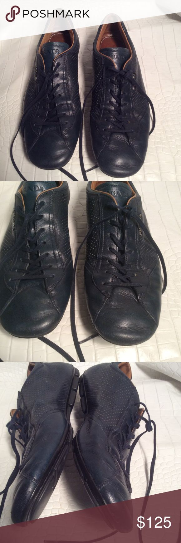 Prada sneakers Soft leather Prada sneakers,Preloved has been polished,has some scuff at the front still really nice Prada Shoes Sneakers