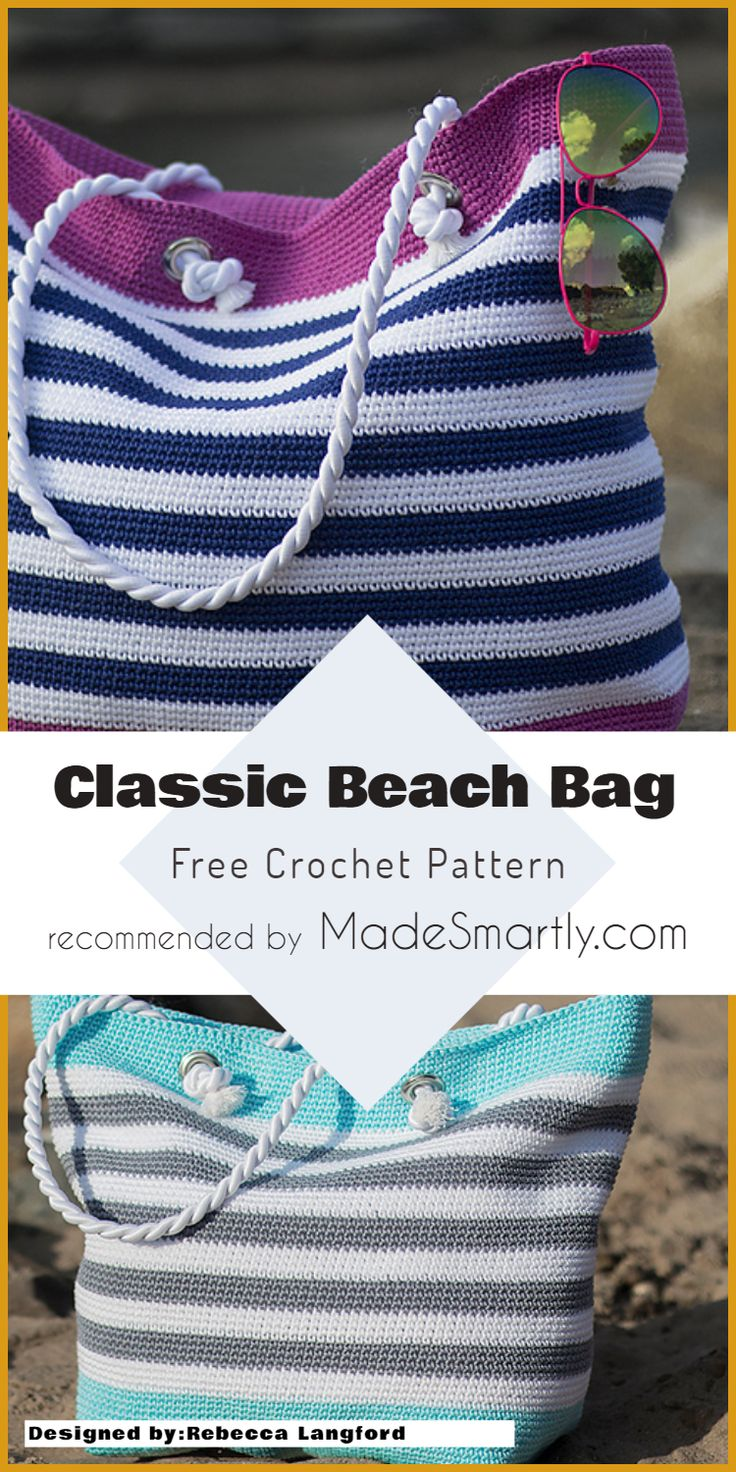 Classic Beach Bag- Free Crochet Pattern #beachwear #crochetpattern #crochetbag #…