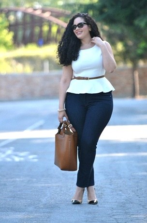 Plus size peplum top with ankle length denim. Love this outfit!!